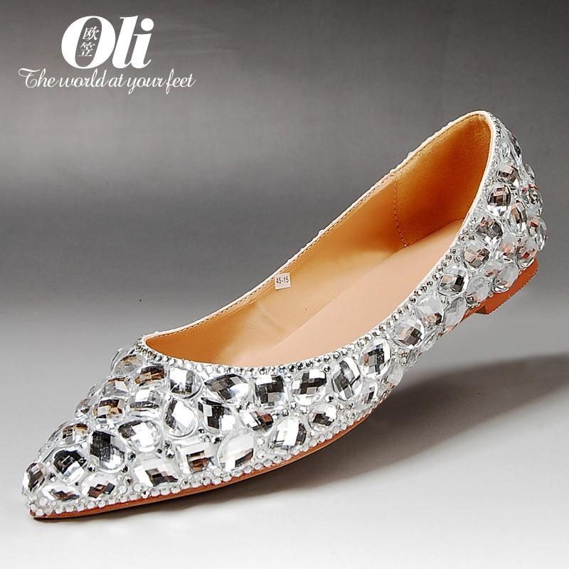 ФОТО Spring flat pointed toe rhinestone single shoes female flat heel wedding shoes gem shallow mouth genuine leather crystal bridal