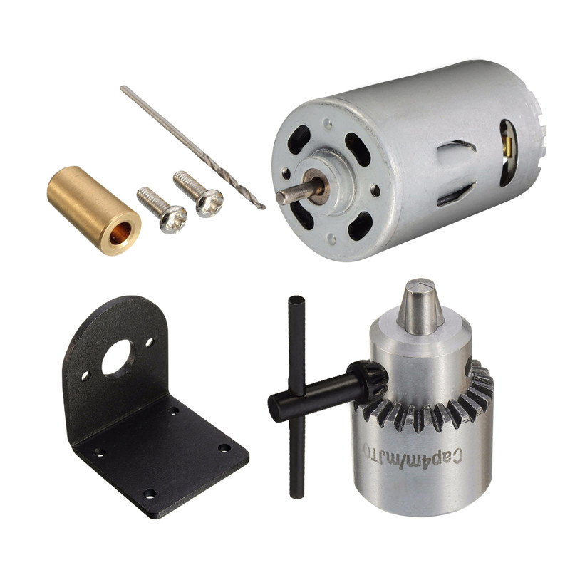 DC 12-24V Lathe Press 555 Ball Bearing Motor With Drill Chuck And Mounting Bracket Gear Motor
