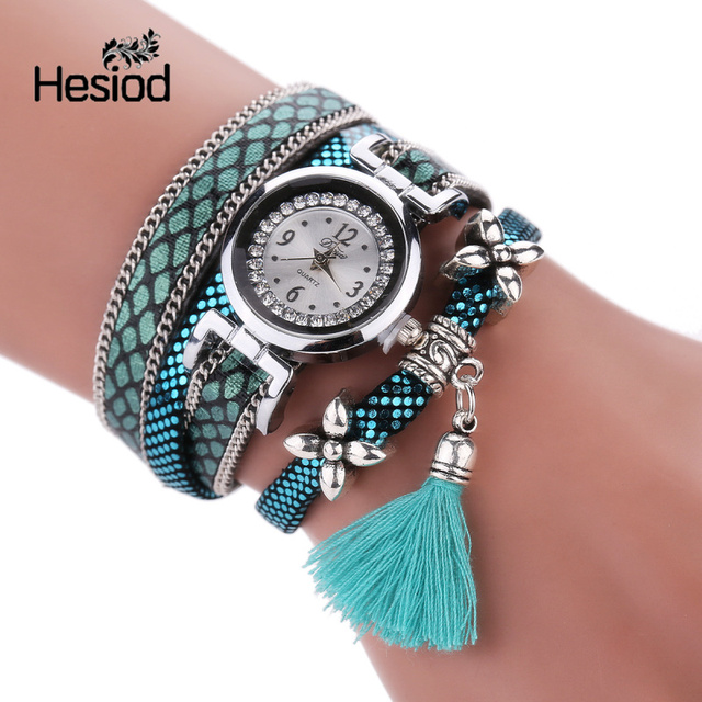 Leather Band Women Bracelet Watches Tassel Pendant Flower Crystal Small Dial Qua