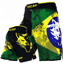 VSZAP Fitness Muay Thai Shorts Brazil Flag Printing MMA Sanda Tide Training Figh