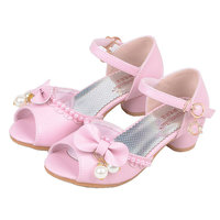 2017 Summer Children Princess Sandals Bownot Kids Wedding Shoes High Heels Dress Shoes Party Shoes For