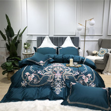 Luxury Gold Royal Embroidery 100S Egyptian Cotton Green Purple Blue Pink Bedding Set Duvet Cover Bed sheet Linen Pillowcases
