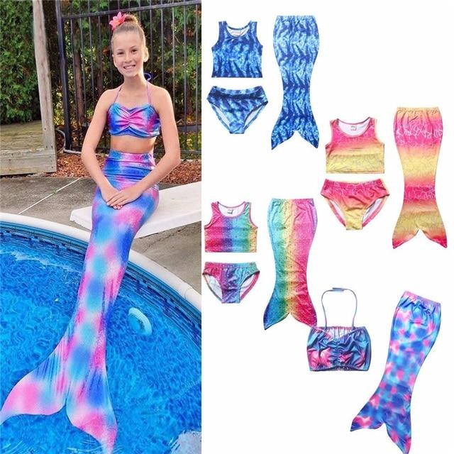d171400e736f2 3 Pcs Girls Rainbow Mermaid Tail Swimwear Bathing Suit Cosplay Costume  Bikini Swimsuit Swimming Suits Swimmer Clothes