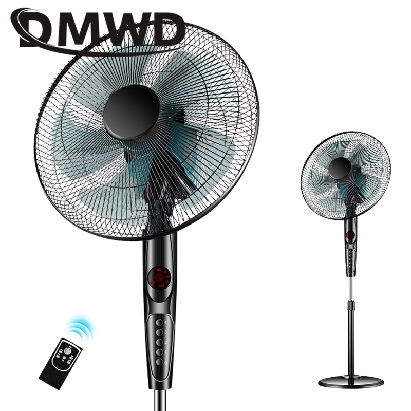 DMWD Electric Floor Stand Cooling Fan Remote Air Blower Timer Mute Household Dormitory Timing Sheke Head Cooler Ventilator EU US