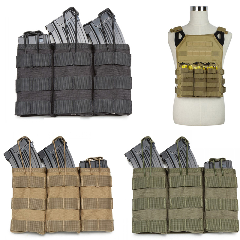 Single / Double / Triple Open Top Military Airsoft Tactical M4 Magazine Pouch AK AR M4 AR15 Rifle Mag Pouch image