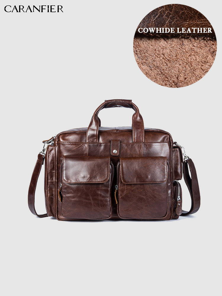 CARANFIER Mens Briefcases Bags Vintage Genuine Leather Laptop Computer Bags Business Document Totes Flap Pocket Messenger Bags