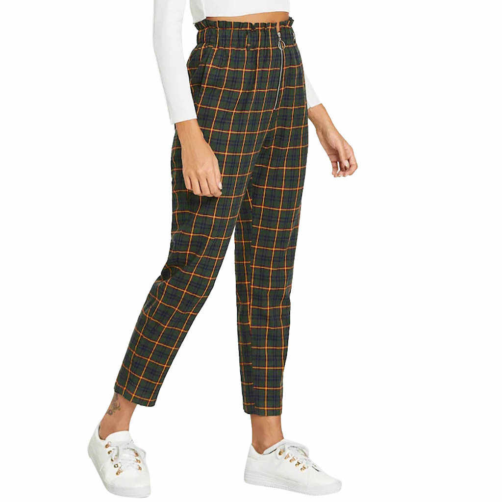 Fashion Women High Waist Lattice Printing zipper Long Trousers Pockets Decorati Casual Pants calf-length pants july 15