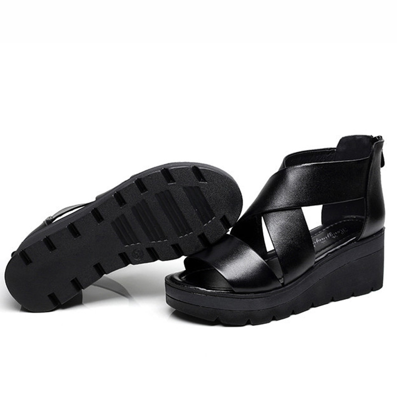Bottes D'été En Femme Femmes Cheville Plate Cuir Dames Talons Coins Gladiateur Pour forme Sandales Véritable Doux Chaussures Noir Hauts wa6Hwq