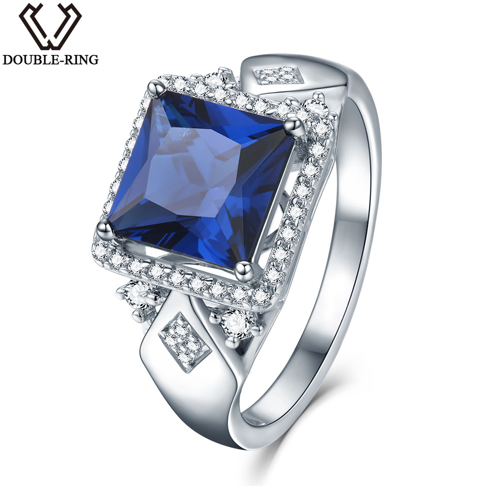 DOUBLE-R 925 Sterling Silver Jewelry Wedding Engagement Created Sapphire vintage Fine Jewelry Rings for women alibaba express