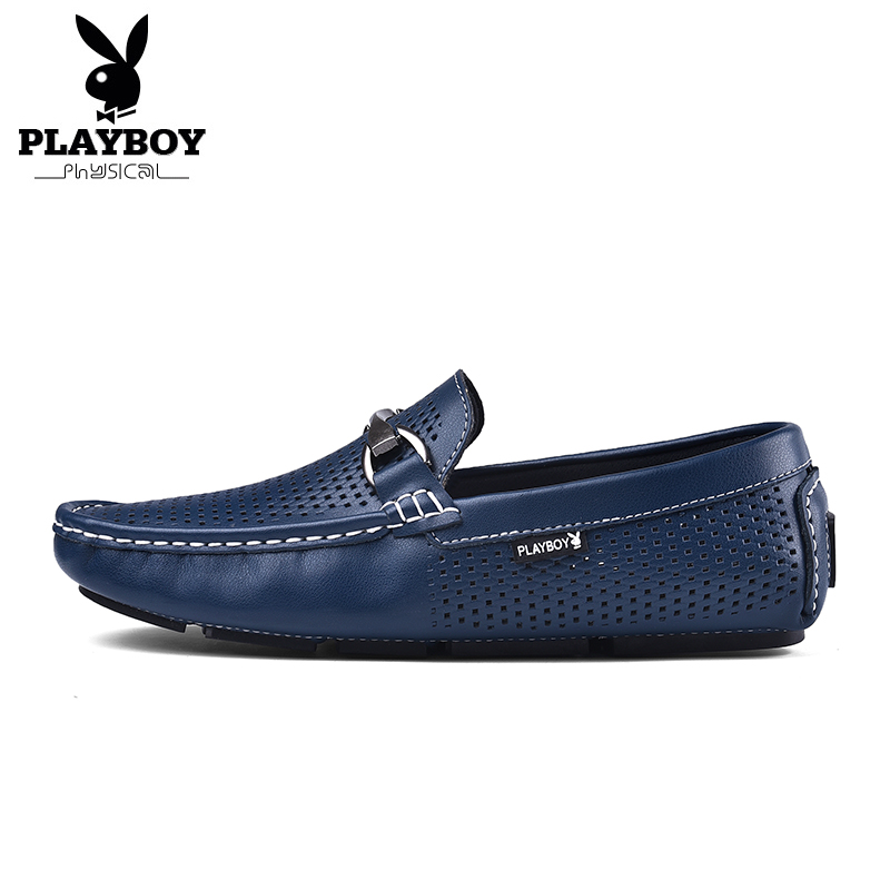 3c6fe6e88d8 PLAYBOY Big Size 38-44 Fashion Genuine Leather Casual Men Shoes Slip-On  Pleated