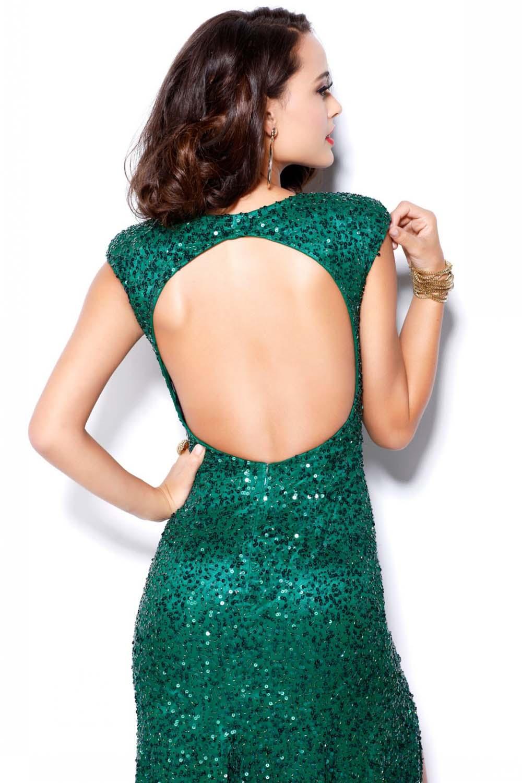 Vestido verde lentejuelas largo