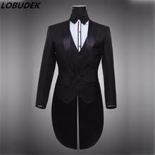 Male black white tuxedo formal dress costumes men's clothing set costume men suits singer dancer compere performance show