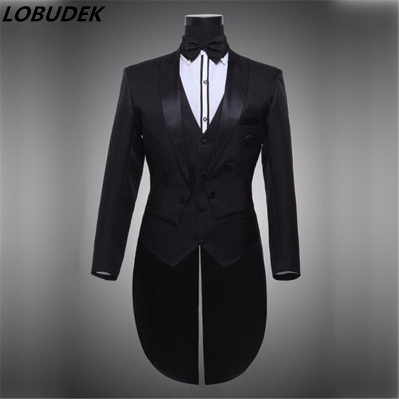 Vyrų juoda balta smokinga oficiali suknelės kostiumai vyriški - Vyriški drabužiai - Nuotrauka 1