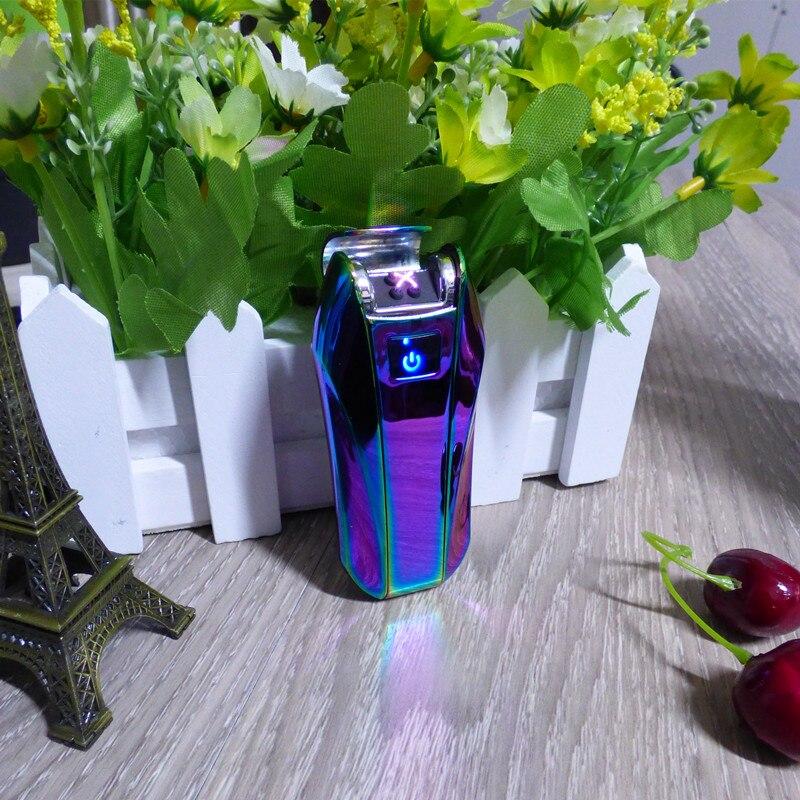 Ultra-Dünne Spiegel LED Kreuz Doppel Arc Leichter USB Puls Zigarre Feuerzeuge Männer Zigarette leichter Geschenke