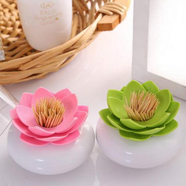 Toothpick Holders Lotus Flower Vase Cotton Swab Case Bud House