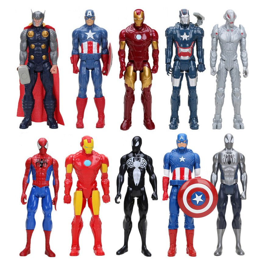 30cm The Avengers Super Hero Spider-man Spider Man Thor Iron Man Captain America PVC Action Figure Movable Model Toy
