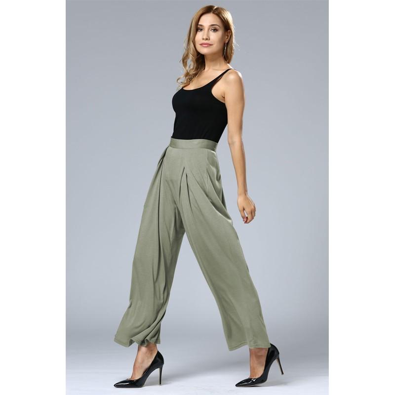 HTB1InglOFXXXXagXpXXq6xXFXXXa - Wide Leg Pants High Waist Long Pants Button Office Work Wear PTC 186