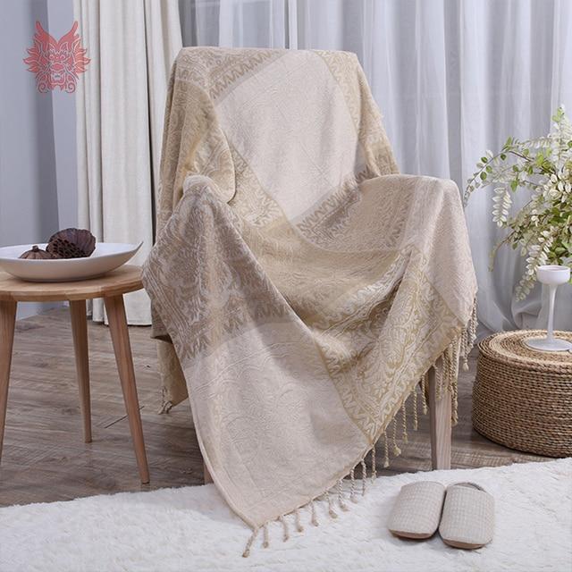 Beige Plaid Weaving Chenille Cotton Decorative Sofa Towel Cover