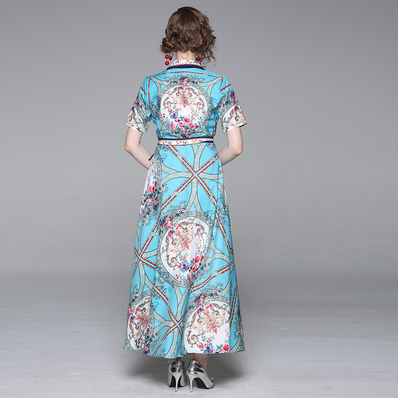 Banulin Summer Fashion Runway Short Sleeve Dress Women 39 s V Neck Vintage Gorgeous Floral Print Maxi Pleated Shirt Dresss in Dresses from Women 39 s Clothing