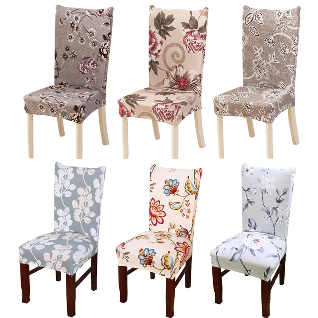 Chair Covers Dining Room Perfect Posture Modern Floral Pattern Spandex Elastic Seat Protective Slipcover Case Removable Stretch Cover