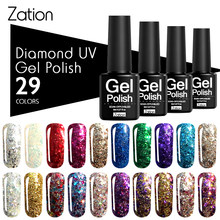 Zação 3D Diamante Brilho Cor de Ouro Sliver Lantejoulas Gel Verniz com Brilhos Soak Off Nail Art Professional Gel UV Do Prego polonês(China)