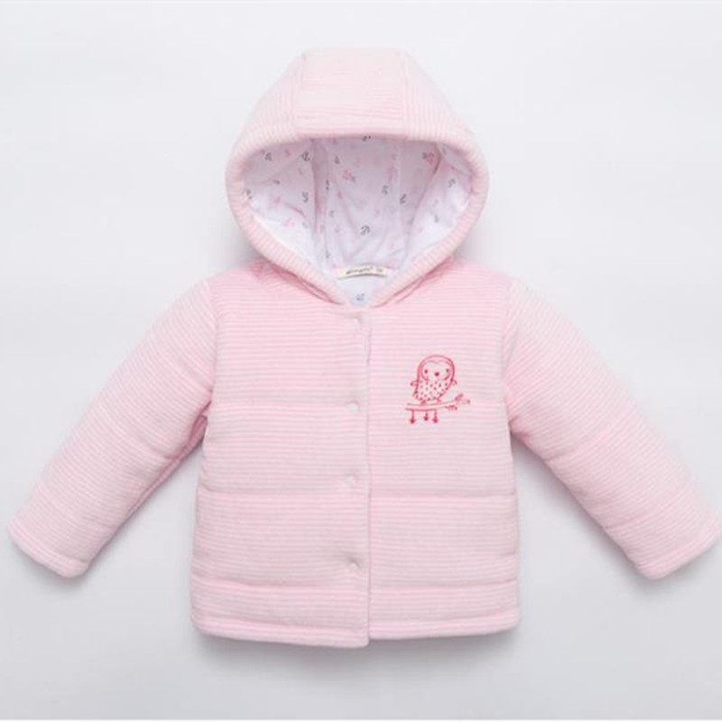 0 1 2 3 New Baby Girl Winter Basic Hooded Pink Stripped Cotton-Padded Jacket Infant Bird embroidery Outer Coat