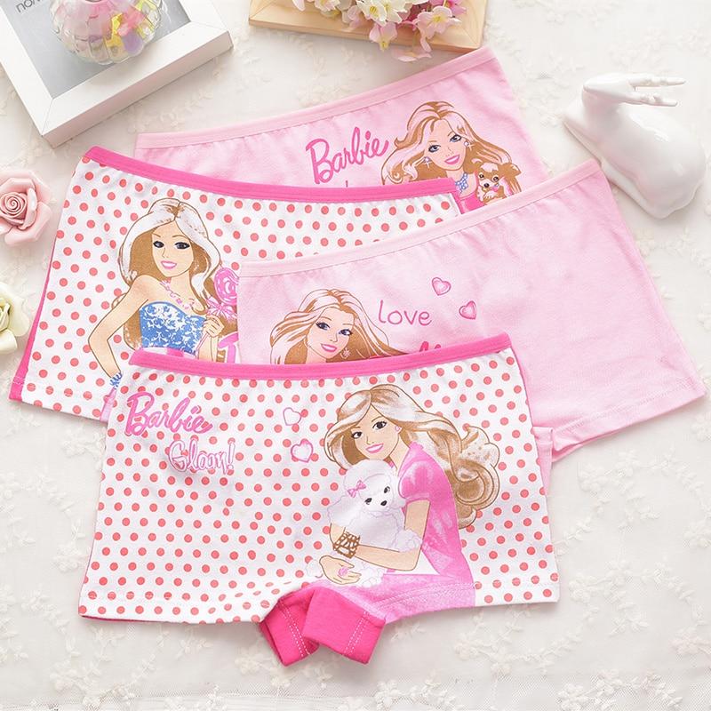Kids Panties 4pcs/lot Children Girl's Cotton Female Cartoon Printed Baby Stripe Girls Underwear Boxer Briefs