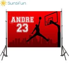 Sunsfun 7x5FT Red Basketball Court Theme Birthday Celebration Background for Photo Studio Camera Fotografica