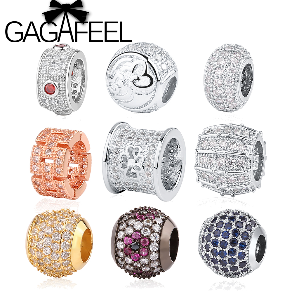 GAGAFEEL High Quality Micro Pave CZ Crystal Beads Gold Color Big Hole Beads for European Bracelet Neklace DIY Jewelry Making