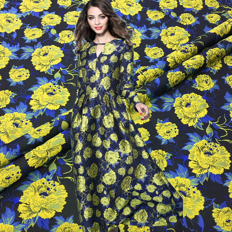 New autumn and winter yellow rose jacquard brocade fashion fabric Tingdai big dress cheongsam coat clothing