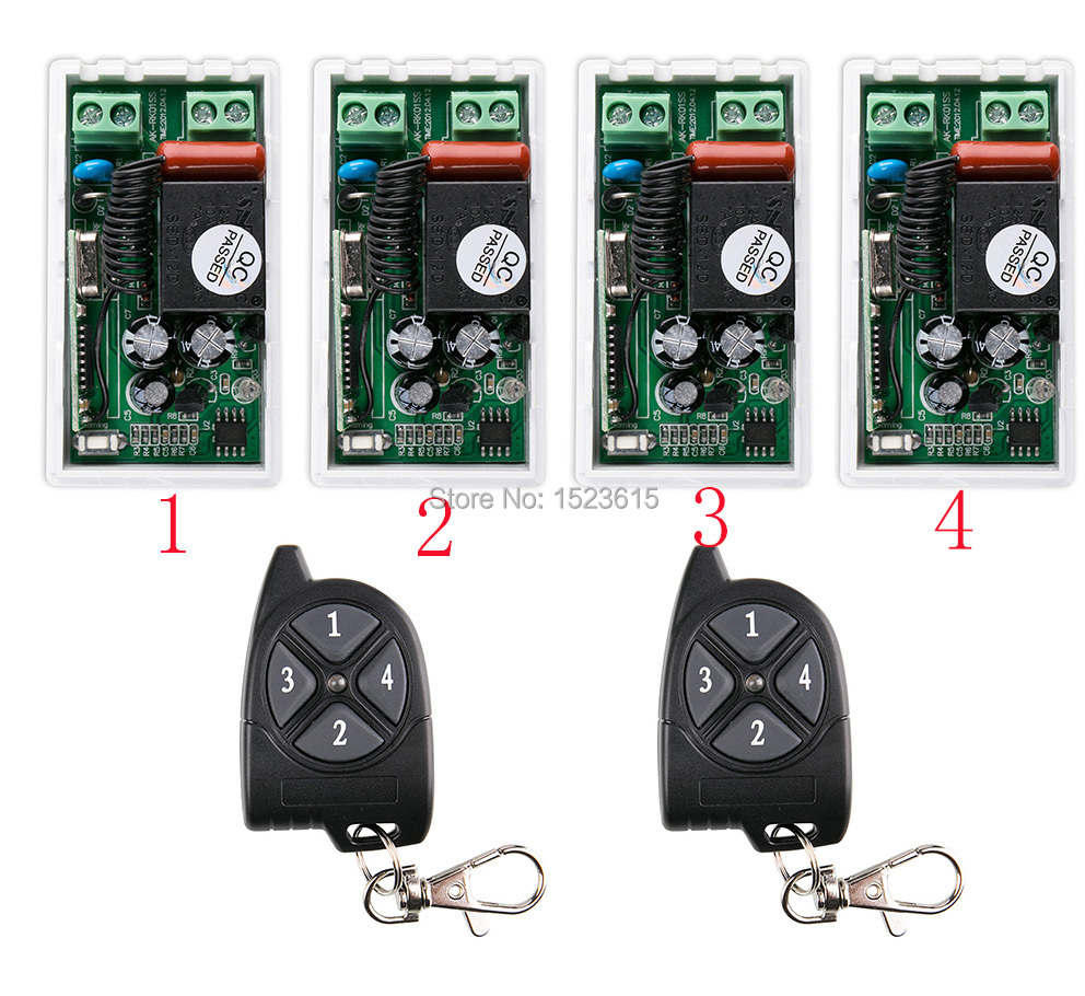 AC220V 1CH 10A RF Wireless Remote Control Switch System 433 MHZ 2 transmitter & 4 receiver relay Receiver Smart Home Switch ac 220v 1channel 10a rf wireless remote control switch system 4 receiver