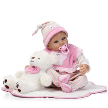 Original Chinese 22inch 55cm Silicone Reborn Baby Dolls With Soft Flannelette Clothes High Quality Brinquedos De Bebe Best Gift