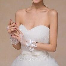 Wedding Fingerless Bridal Short Gloves Lace Floral Bowknot