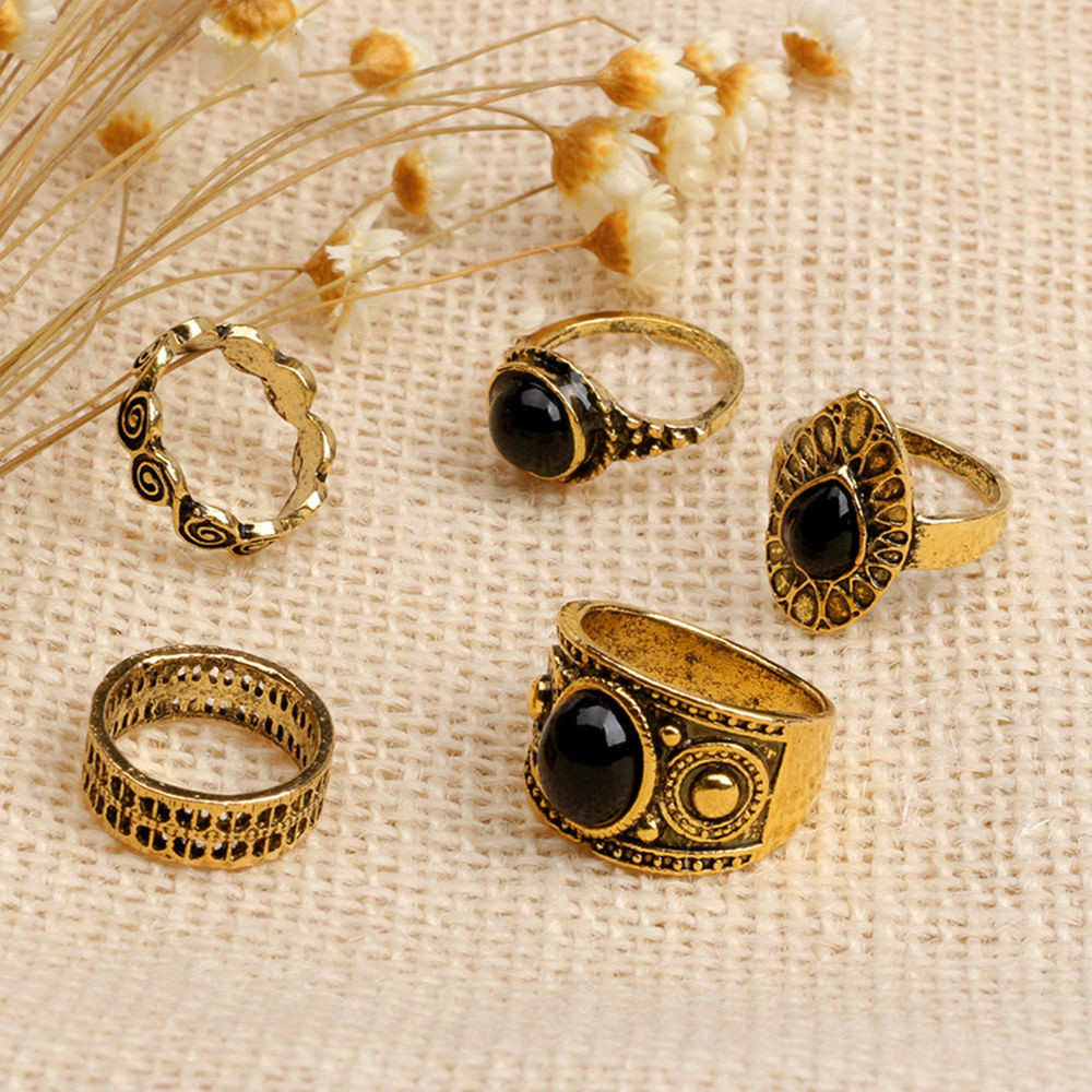 2017 Hot Fashion 5 PCS Vintage Women's Boho Crystal Flower Knuckle Ring Tibetan Turkish Special Style Unique Designed Trendy