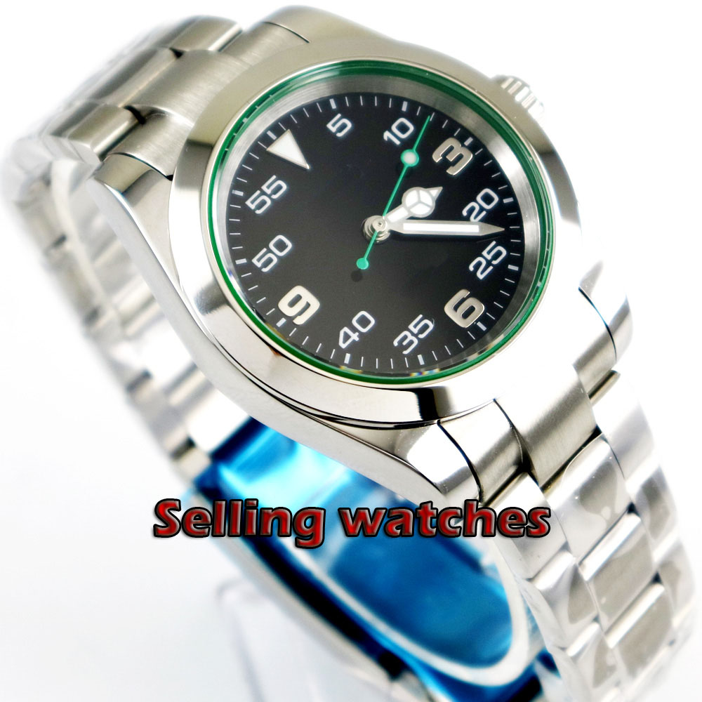 40mm Bliger sapphire glass black dial green hand luminous Automatic mens watch40mm Bliger sapphire glass black dial green hand luminous Automatic mens watch