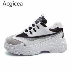 Женские кроссовки на высокой платформе, черные и белые, повседневные, спортивные, Size35-43, 2020