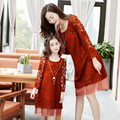 Lace one-piece dress 2017 spring clothes for mother and daughter slim fashion medium-long ms100 cutout dress
