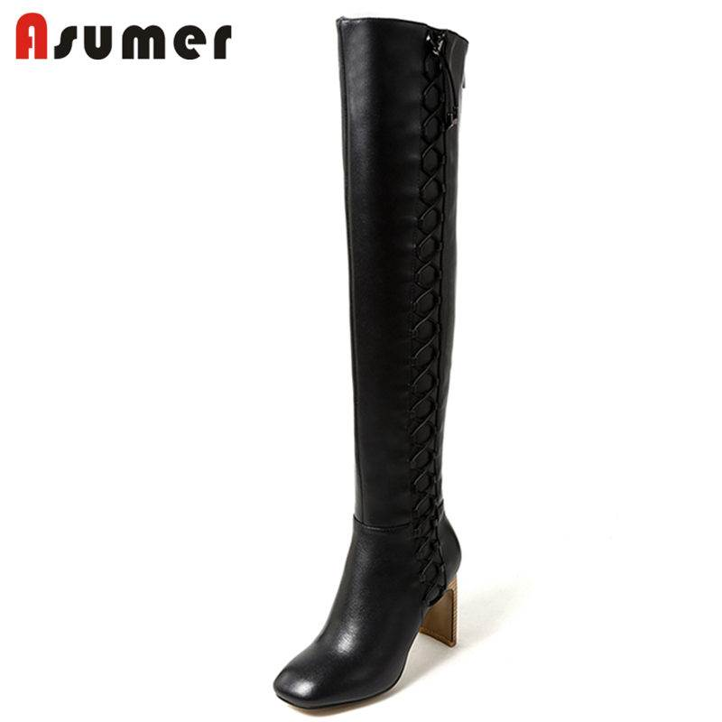 ASUMER 2018 NEW fashion cross tied over the knee boots for women square toe genuine leather boots square high heels winter boots airfour new fashion style warm winter boots for women over the knee round toe square high heels poitnted toe fashion lady shoes