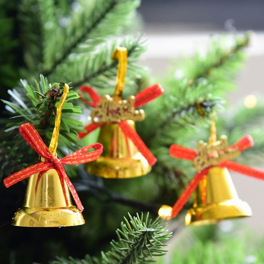 9/12Pcs/set Gold Christmas Jingle Bell Clock Bow Letter Cards Pendant Xmas Christmas Tree ...