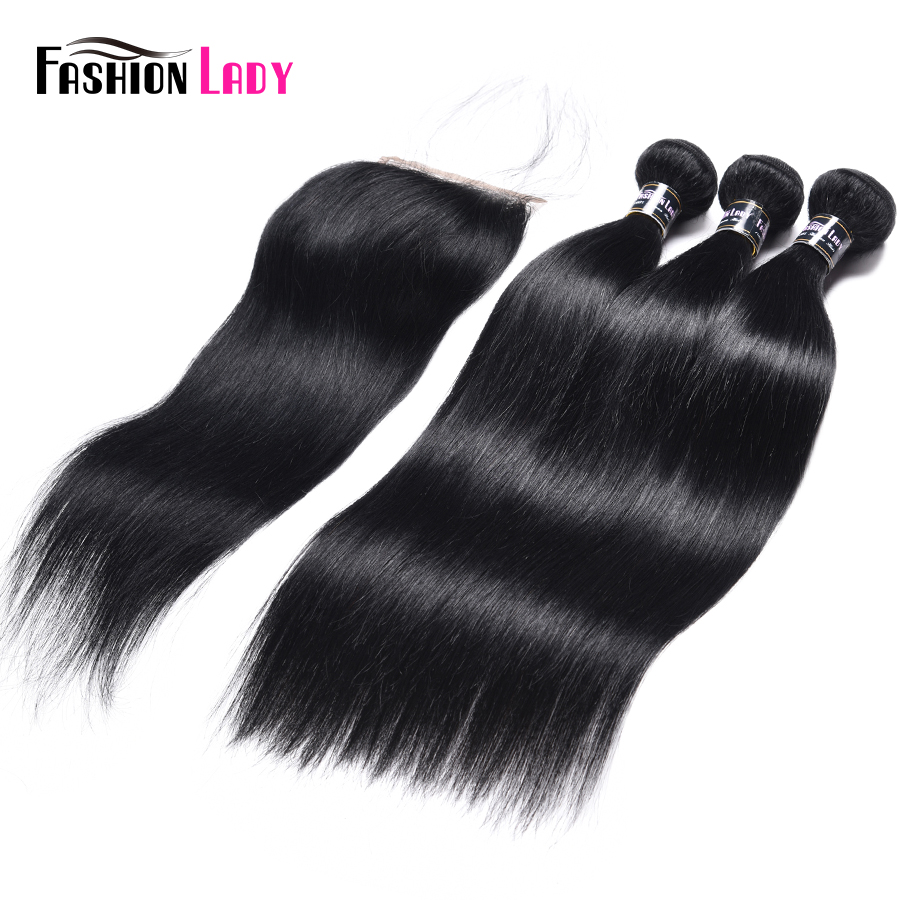 Fashion Lady Pre Colored Indian Straight Hair Bundles With Closure Human Hair Weave 3Pcs Jet Black