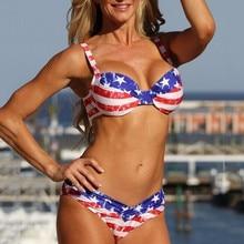 цена на 2018 New USA American Flag Print Swimwear Biquinis Women Sexy Swimsuit Bikinis Set Trikini Beach Bathing Suit Tankini