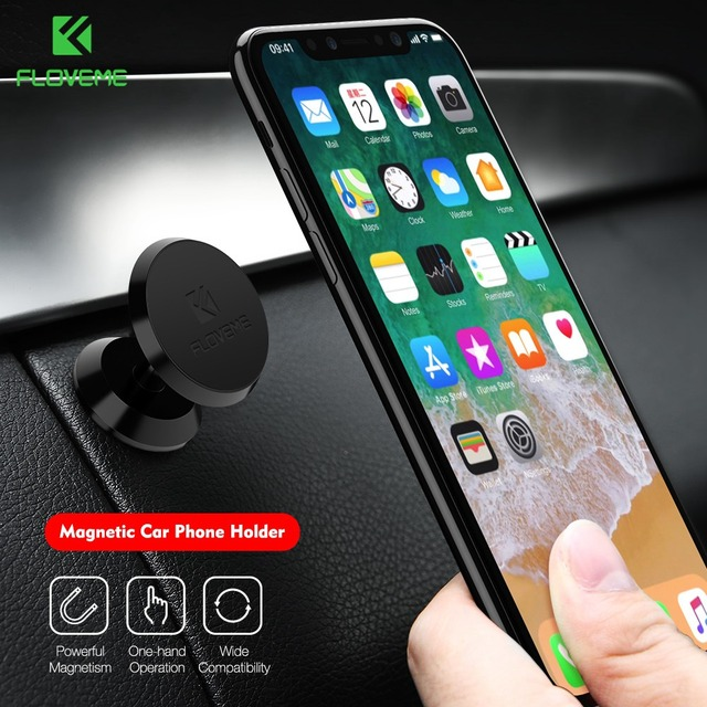 FLOVEME Magnetic Car Phone Holder For iPhone X 7 Plus Stand 360 Degree Console GPS Car Holder For Samsung S9 Soporte Movil Auto