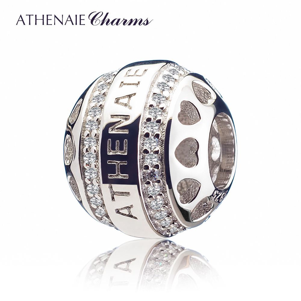 ATHENAIE Genuine 925 Silver with Pave Clear CZ Heart by Heart Openwork Charm Beads Fit All European Bracelets Necklace For Women