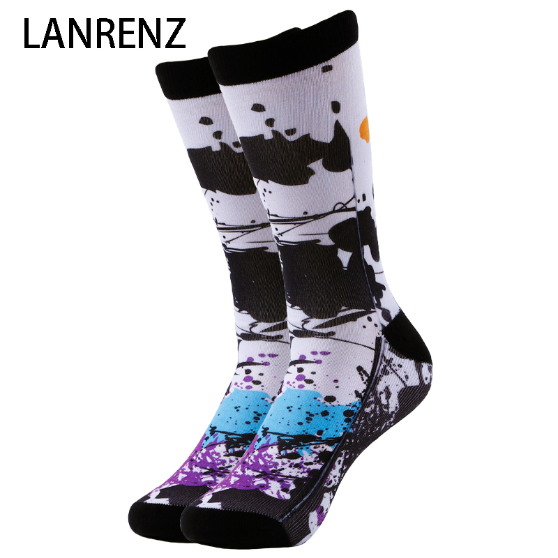 2019 Creative Watercolor Printing Men And Women Fashion Funny Socks 3d Printed Socks 200 Knitting Oil Painting Compression Socks