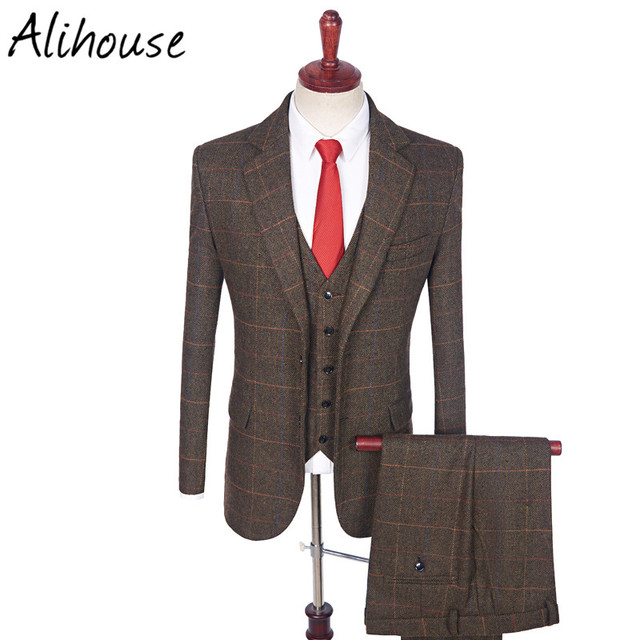 Kostuum Heren.Us 160 0 Kostuum Mannen Pak 2018 Vintage Slim Fit Pakken Voor Mannen Wol Bruin Geruite Tweed Tailored Wedding Heren Pak Jas Vest Broek In