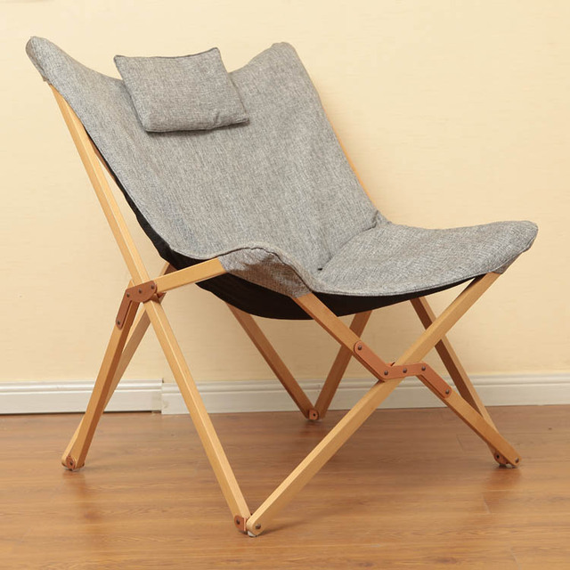 Charming Modern Folding Butterfly Chair Portable Solid Wood Outdoor Balcony Beach  Butterfly Chair Leisure Chair Camping Chair