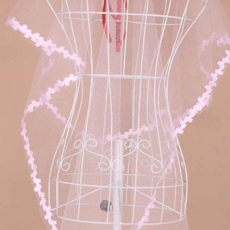 1M שכבה אחת נשים קצר Sheer Mesh טול חתונת צעיף לבן קטן עלה Applique טלאים לקצץ גלי מוצק צבע כלה רעלה
