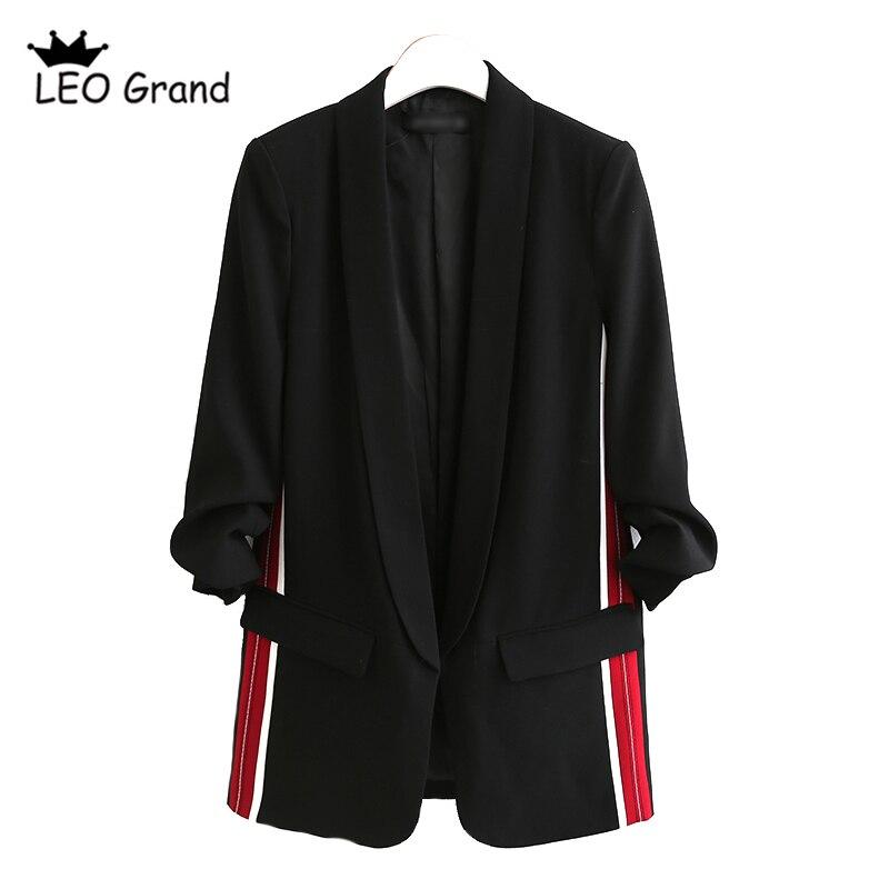 Leo Grand women black blazer Notched collar long sleeves jacket casual outerwear casaco feminina tops 910021