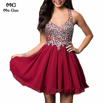 2016 BlingBling Rhinestone Crystal Maid of Honer Burgundy wedding Guest dress Homecoming Cocktail Party Dress short