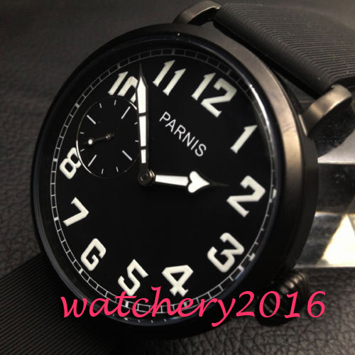 Parnis 46mm black dial PVD case luminous markers 17 jewels 6497 hand winding movement Men's Watch цена и фото
